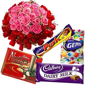 Special Pink and Red Roses with Cadbury chocolate to India.