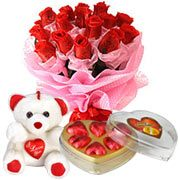 Long Lasting – Red Roses Bouquet with Teddy Bear  and Heart shape Chocolate Box