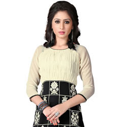 Send Exclusive Georgette Embroidered Kurti in Beige and Black Colour to India
