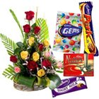 Graceful mixed lovely Roses clubbed with delicious assorted Cadburys Chocolates to Belapur