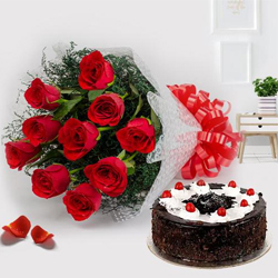 Charming Red Roses along with delicious Black Forest Cake to Devangere