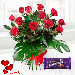 Exclusive <font color =#FF0000> Dutch Red </font>   Roses  With Free Cadbury Chocolate