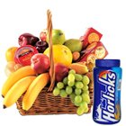 Nutritious fresh Fruit Basket together with Horlicks and Biscuits to Thane