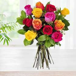 Pretty colorful Two Dozen mixed Roses to Thrissur