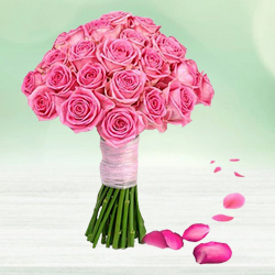 Beautiful bouquet of 30 bright Pink Roses to Thrissur