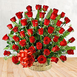 Stunning arrangement of 50 Red Roses to Thrissur