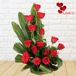 15 Exclusive <font color =#FF0000> Dutch Red </font>   Roses  in Cane Basket