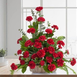 Mothers Day Red Carnations Basket to India