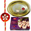 Soan Papri and Silver Plated Puja Thali along Rakhi, Roli, Tilak and Chawal