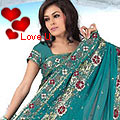 Fascinating Teal Embroidered Georgette Saree.