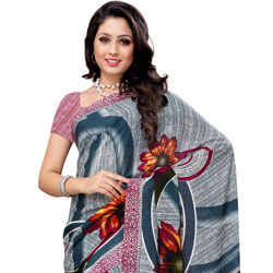 Send Designer Renial Georgette Printed Saree Coloured in Teal and White to India