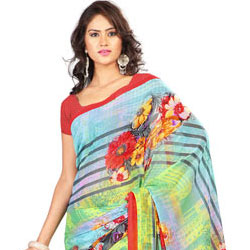 Send Attention-Getting Yellow and Sky Blue Colour Combined Georgette Printed Saree to India