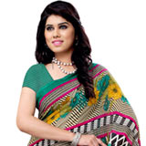 Amazing Renial Georgette Printed Saree in Multi-Shaded Colours to Durg