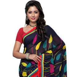 Send Marvelous Georgette Printed Saree in Black and Grey Colour to India