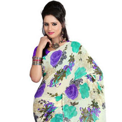 Send Fascinating Faux Georgette Printed Saree to India