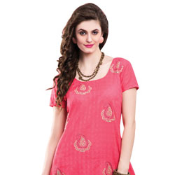 Send Beautiful Chiffon Embroidered Salwar Kameez in Pink to India