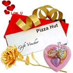 Pizza Hut Voucher Worth Rs. 400 with 1 Golden Rose and 3 pcs Heart Homemade Chocolate