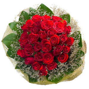 Special Arrangement of 30 Roses Bouquet to India.