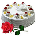 Yummy Vanilla Cake and charming Red Rose to Thane