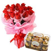 Long Lasting � Red Roses Bouquet with  Ferrero Rocher Box