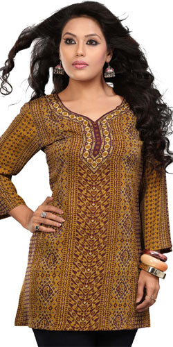 Extravagant Coloured Crepe Silk Printed Kurti (Yellow)