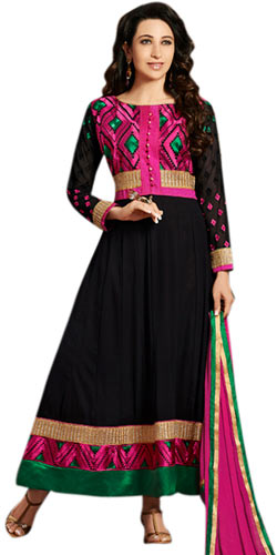 Fascinating Black and Pink Colour Coordinated Anarkali Salwar Kameez
