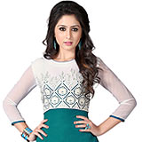 Fabulous Georgette Embroidered Kurti in White and Turquoise