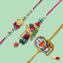 Elegant combo of Bhaiya N Bhabhi Rakhi With Kid Rakhi