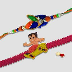 Captivating Bade N Chote Bhaiya Rakhi Set
