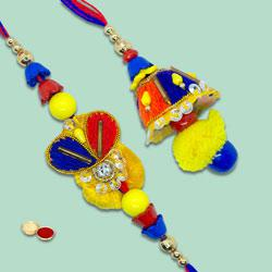 Graceful Zardozi Design Rakhi Lumba Set for Bhaiya Bhabhi