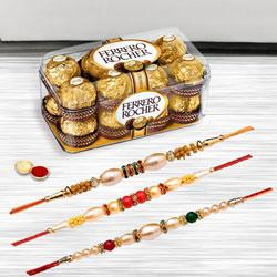 Charming Tripal Rakhi Selection with Ferrero Rocher Chocolate