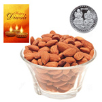 Health-Giving Almonds With Silver Plated Coin And Diwali Card