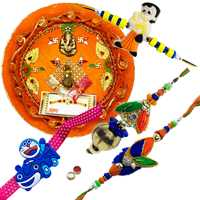 Splendid Combo Of  Bhabhi Rakhi N 2 Kid Rakhi With Rakhi Thali