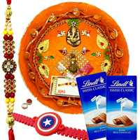 Awesome Rakhi Combo Of Bhaiya N Kid With Rakhi Thali N Lindt Chocolate
