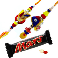 Lovely Set of Bhaiya N Bhabhi Rakhi N Mars Chocolate