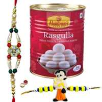 Ultimate Combo of Unique Rakhi, Kid Rakhi, Haldiram Rasgulla