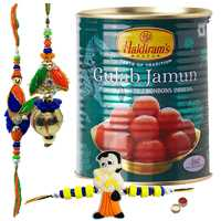 Gorgeous Bhiya Bhabhi Rakhi Set With Kid Rakhi And Gulab Jamun From Haldiram.