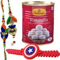Enchanting Bhaiya Bhabhi Rakhi Set With Kid Rakhi And Haldiram Rasmalai