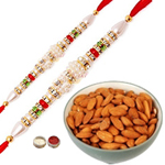 Beautiful Combo of 2 Rakhis Alongwith Almonds