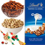 Graceful Bhabiya Bhabhi Rakhi Set, Almond, Cashew And Lindt Chocolate