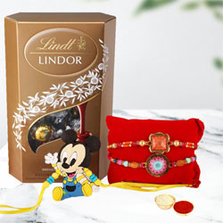 Pretty Rakhi Set of 3 for Bhai N Kids with Lindt Chocolate