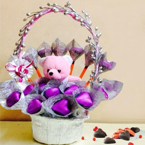 Blissful Teddy with Chocolates in a Basket