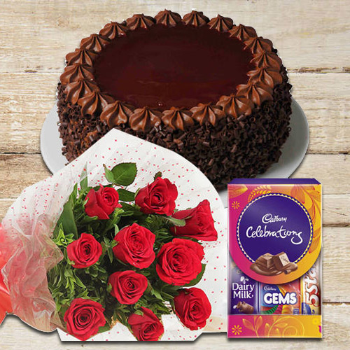 Book Red Roses Bunch with Chocolate Cake N Cadbury Pack Online