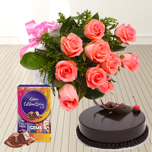 Buy Online Pink Roses Bunch with Chocolate Cake N Cadbury Pack