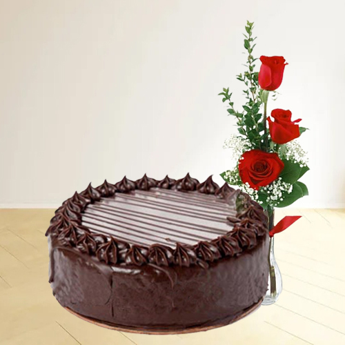 Online Order Chocolate Cake with Red Roses
