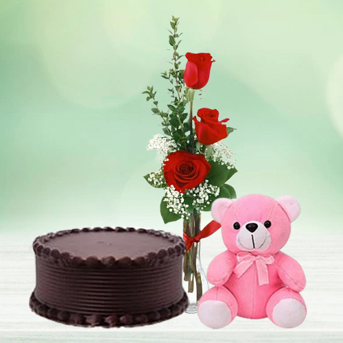 Gift Chocolate Cake with Red Roses N Teddy Online