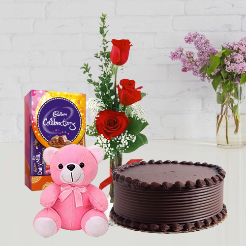 Book Online Chocolate Cake with Red Roses, Teddy N Cadbury Pack