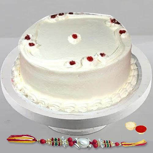 Pamper-of-Pastry 1 Lb Vanilla Cake with Free Rakhi and Roli Tilak Chawal