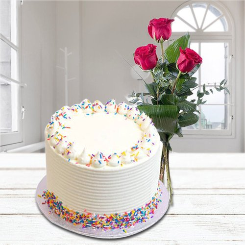 Buy Online Vanilla Cake with Red Roses