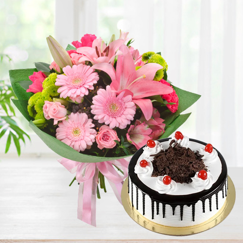 Send Online Mixed Flowers Bunch with Black Forest Cake